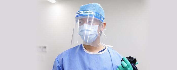 感染予防の為、検査毎に、洗浄・消毒を徹底